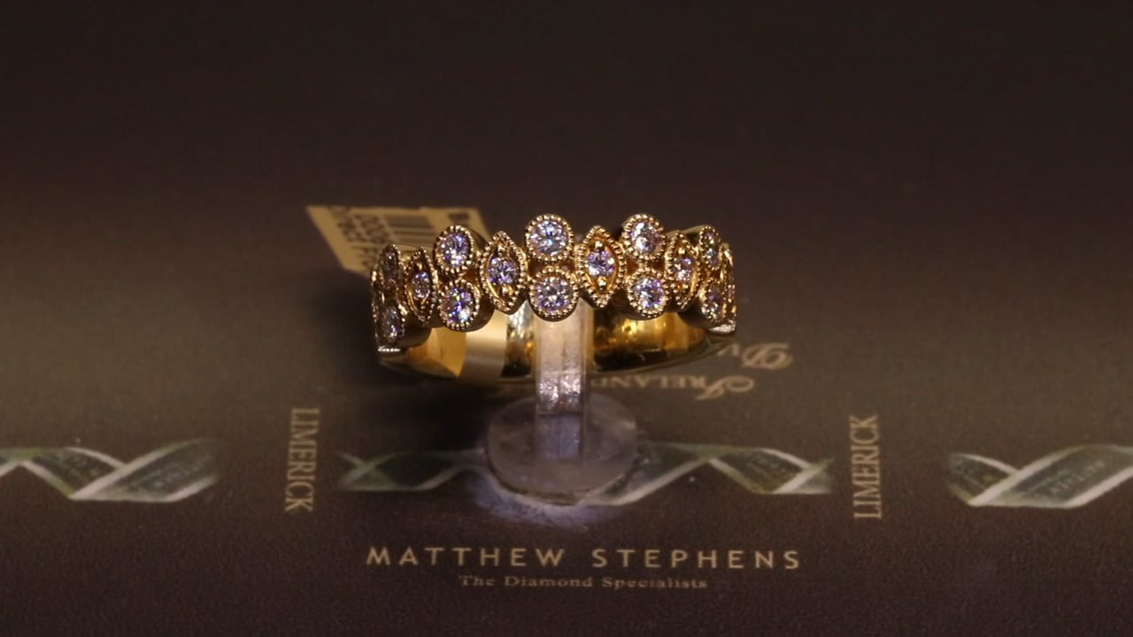 67184 - Round Brilliant & Marquise Diamond Band, T0.55ct, Set in 18ct Yellow Gold