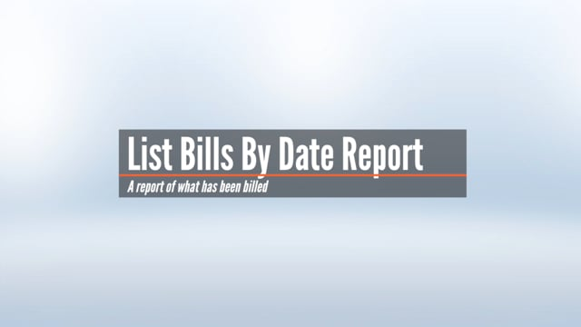 List & Age Bills By Date