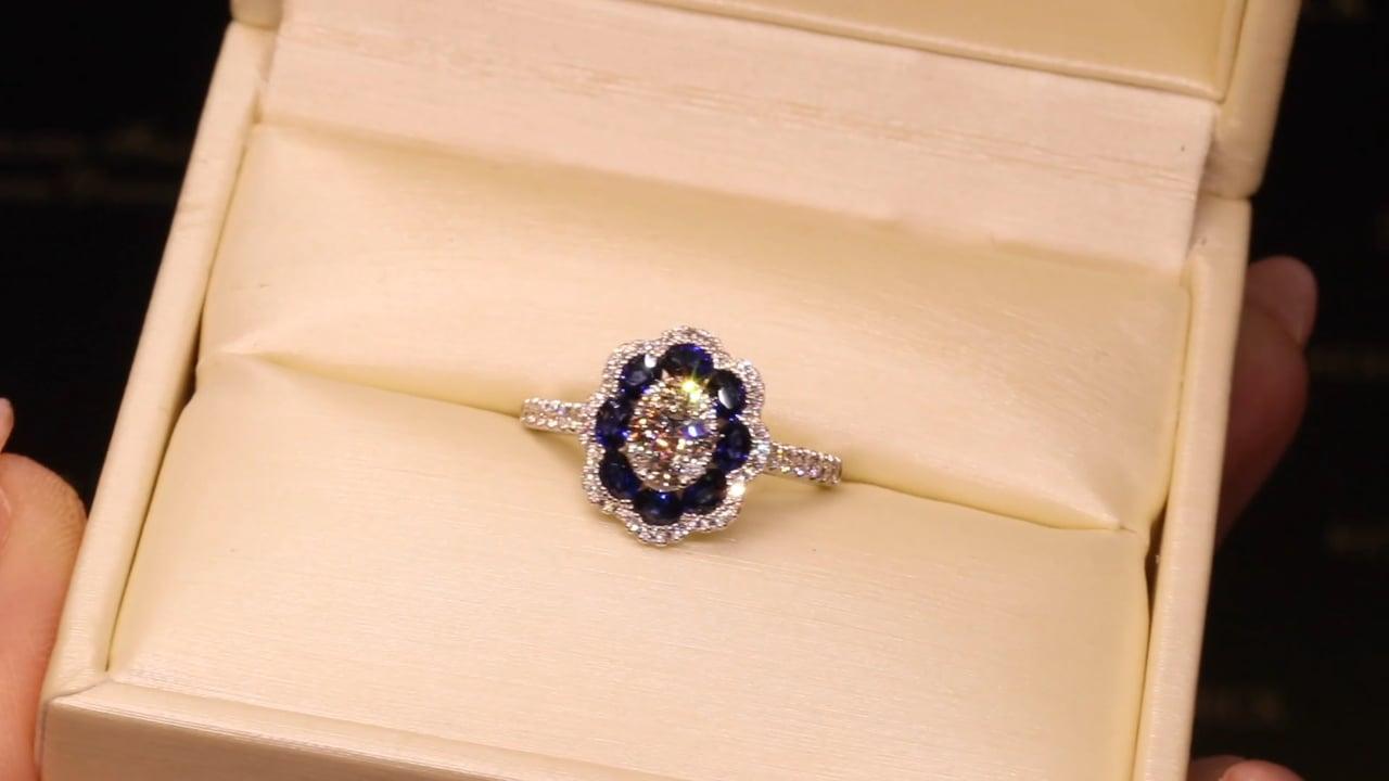 63500 - Sapphire & Diamond Flower Cluster
