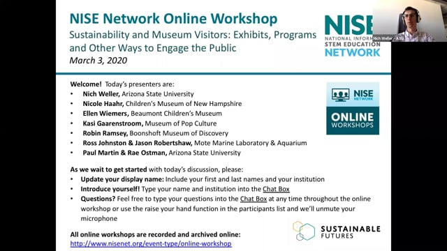 Online Workshop: Sustainability and Museum Visitors: Exhibits, Programs, and Other Ways to Engage the Public