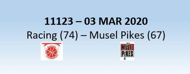 N1H 11123 Racing Luxembourg (74) - Musel Pikes (67) 03/03/2020
