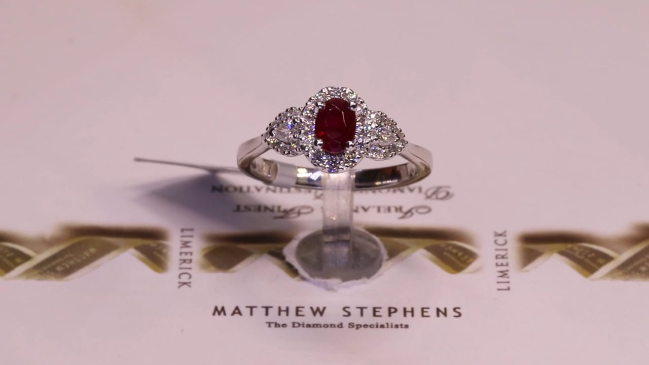 70276 - Oval Ruby with Diamond Halo & Pear Side Diamonds, R0.62ct & D0.32ct, Set in Platinum