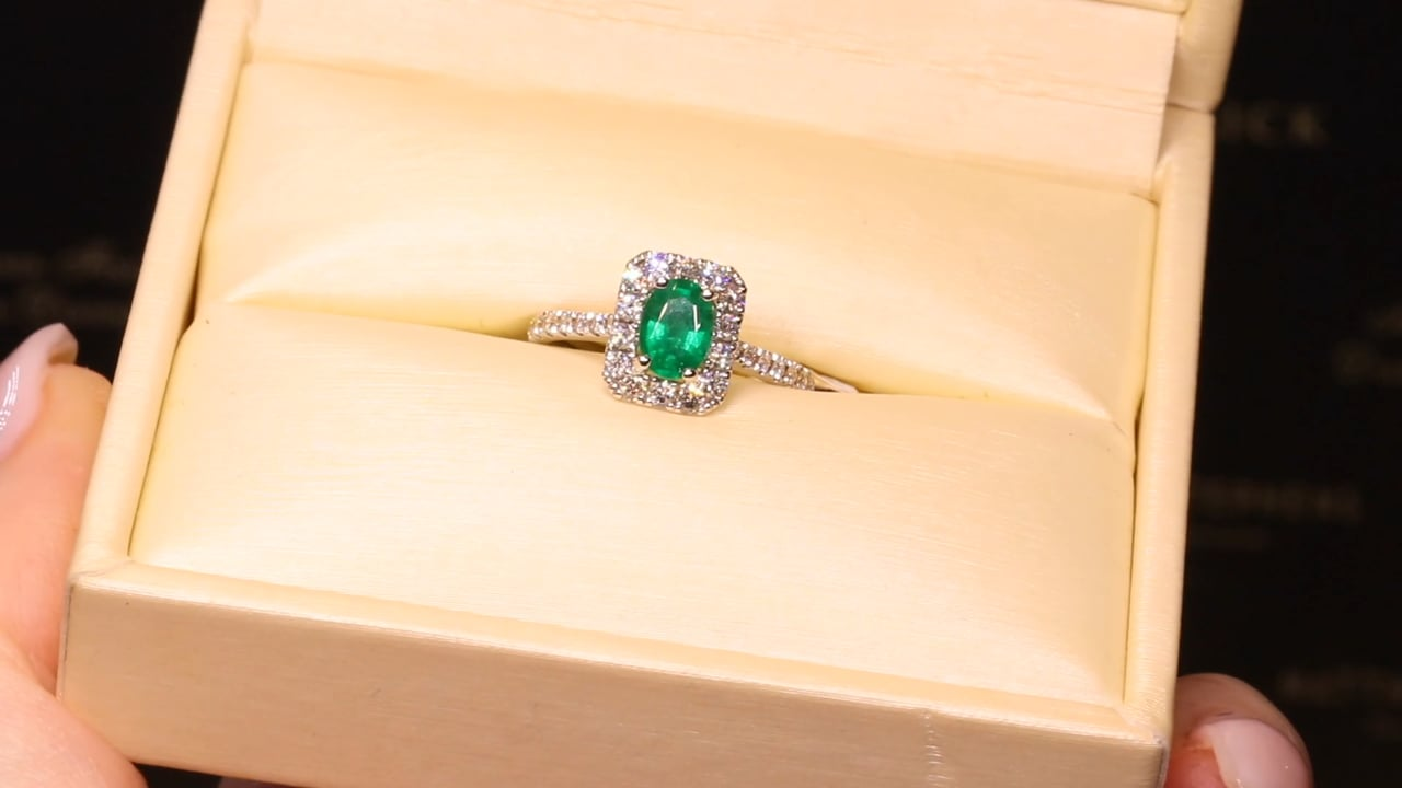 65382 - Oval Emerald with Cushion Shape Diamond Halo and DSS, EM0.68ct & D0.53ct, Set in 18ct White Gold