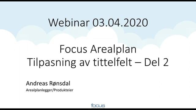 Tilpasning av tittelfelt i Focus Arealplan del 2