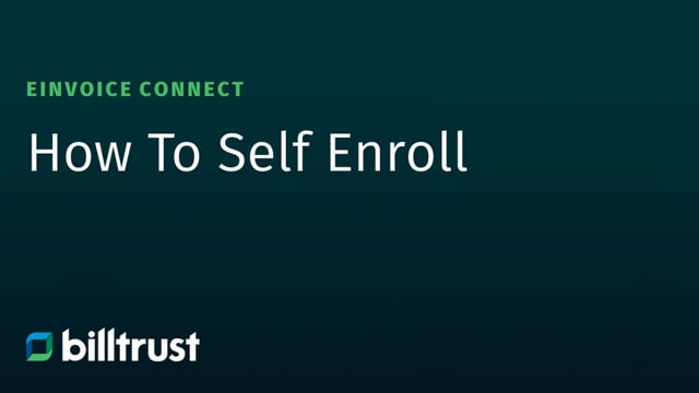 eInvoice Connect - How to Self-Enroll