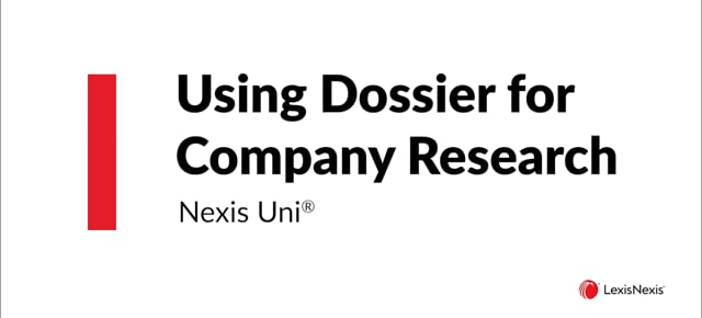 Using Dossier for Company Research Uni DOS ES WB