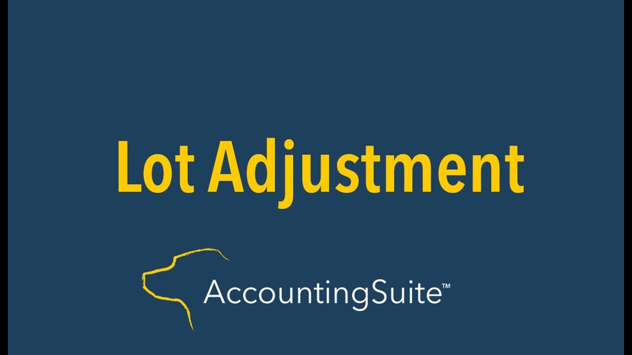 Lot adjustment