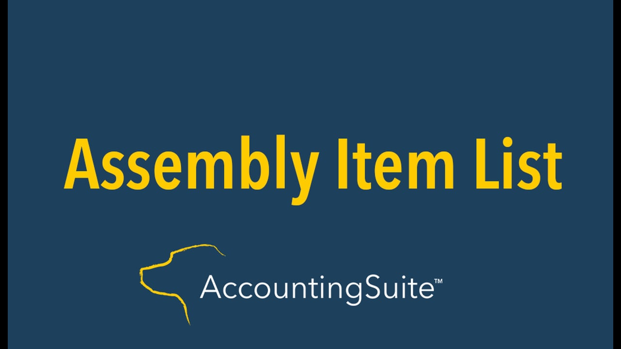 Printed Assembly Item List