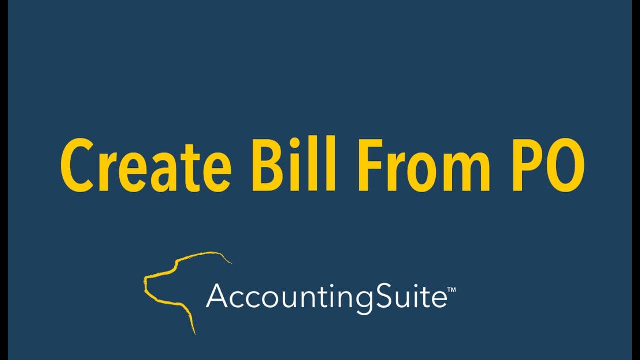 Create Bill from PO