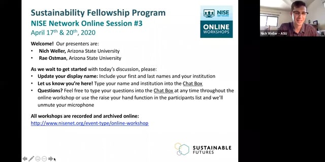 Sustainability - Cohort B online session 3a
