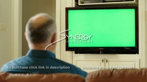 1838 Baby boomer man nods head yes in support of tv green screen