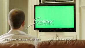 1842 millennial watching tv green screen replacement