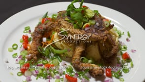 1885 softshell crab entree served in restaurant