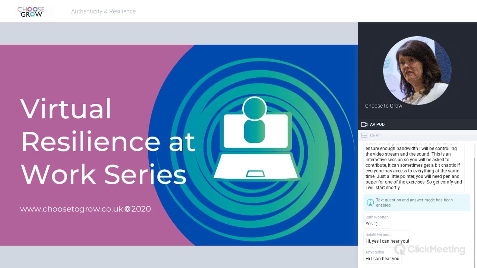 Authenticity & Resilience Webinar April 2020