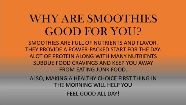 Remote Learning 01 - Feel Good Smoothie