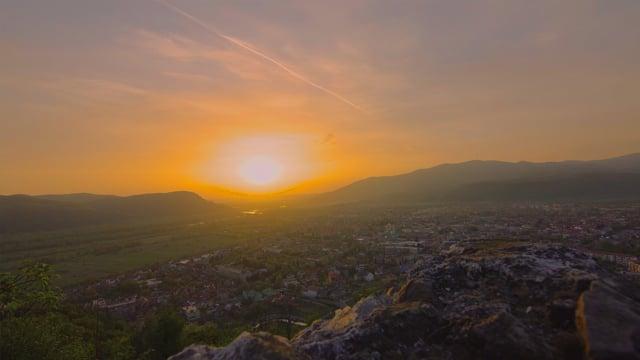 Sunset over the Small Town. Khust, Ukraine