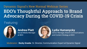 BDO's Thoughtful Approach to Brand Advocacy During the COVID-19 Crisis (Webinar Recording)