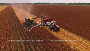 2191 John Deere tractor combine offloading corn aerial