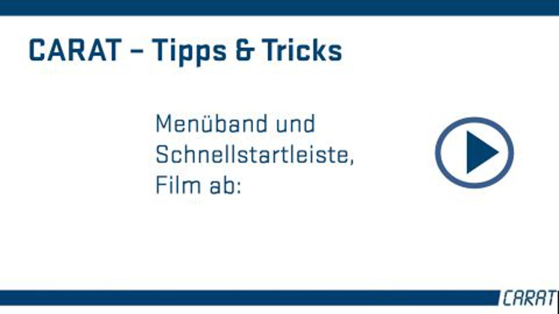 Tipps und Tricks - Menüleiste und Schnellstart