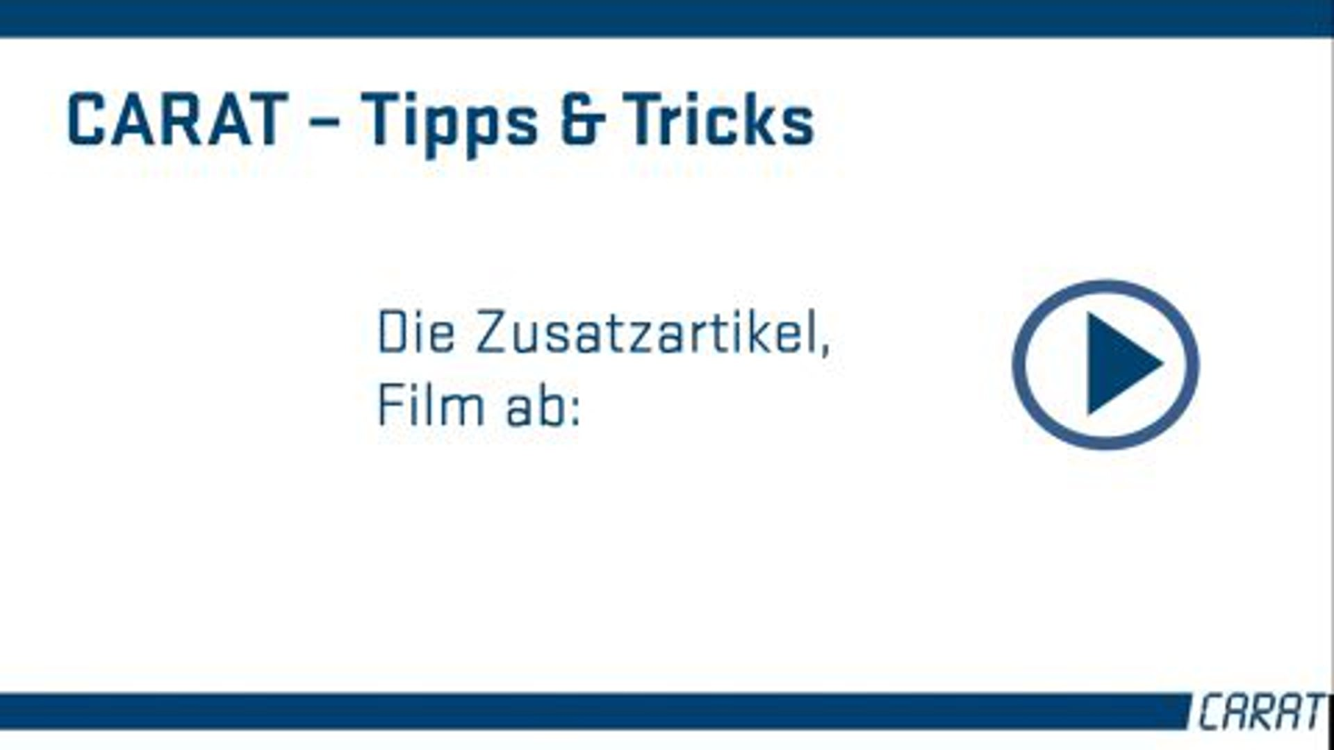 Tipps und Tricks - Die Zusatzartikel