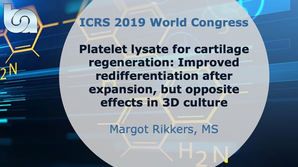 Platelet lysate for cartilage regeneration: Improved redifferentiation after expansion, but opposite effects in 3D culture