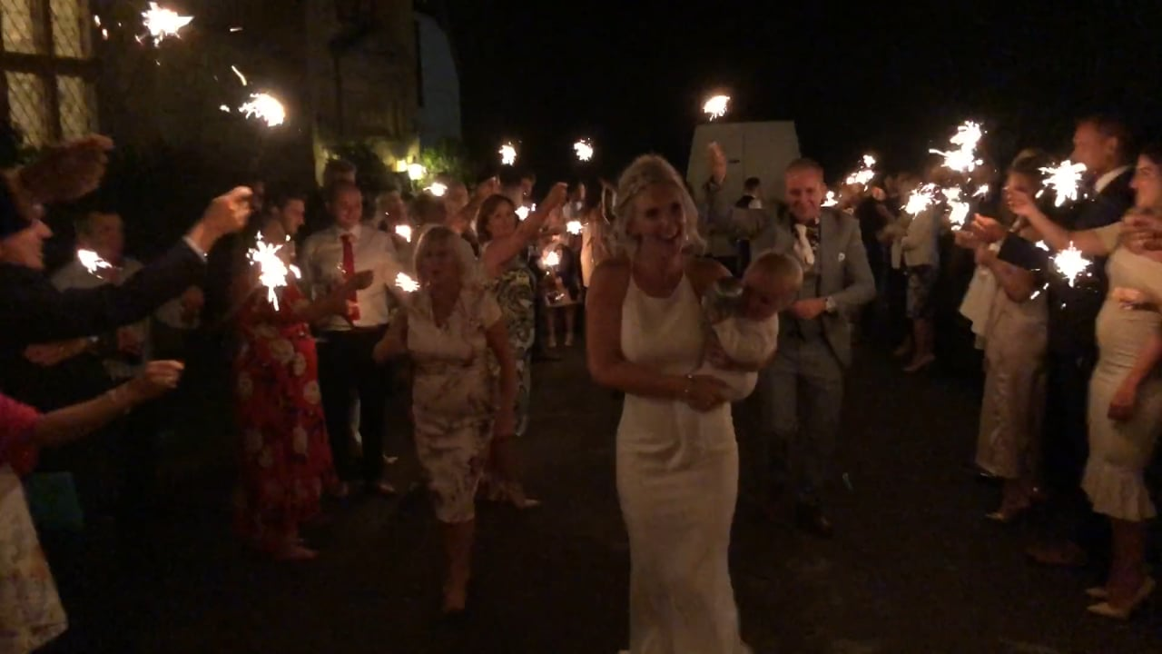 Supprise Wedding Display with Sparklers to Start at Salford Hall