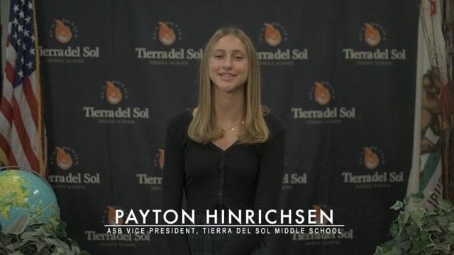 Payton Hinrichsen - TdS Middle School Class of 2020