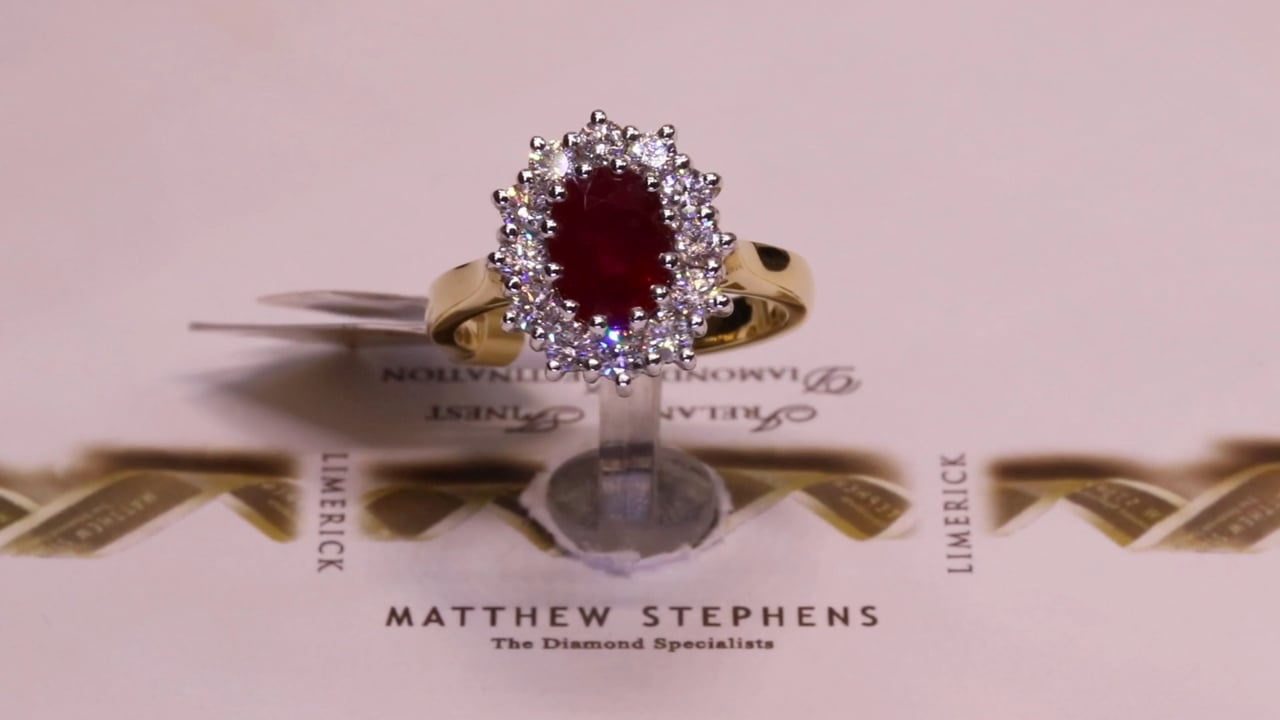 72961 - Ruby & Diamond Cluster, R1.52ct & D0.74ct, Set in 18ct Yellow Gold