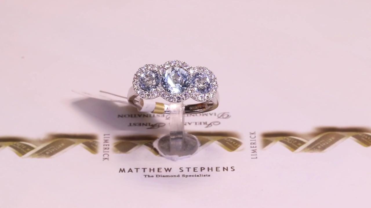 69131 - Three Stone Aquamarine & Diamond Halo, AQ2.02ct & D0.32ct, Set in 18ct White Gold