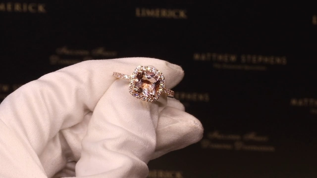 70807 - Cushion Morganite with Diamond Halo & DSS, M1.82ct & D0.45ct, Set in 18ct Rose Gold