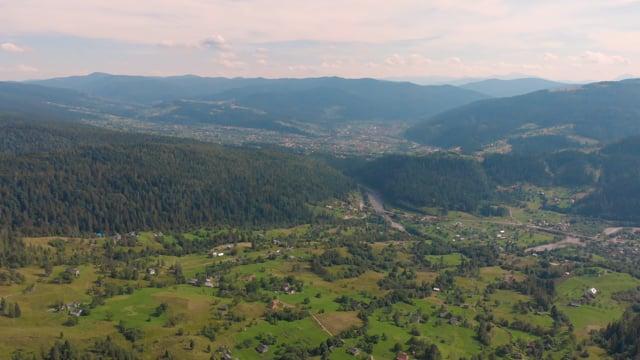Carpathian Mountains from Above, Ukraine, Europe