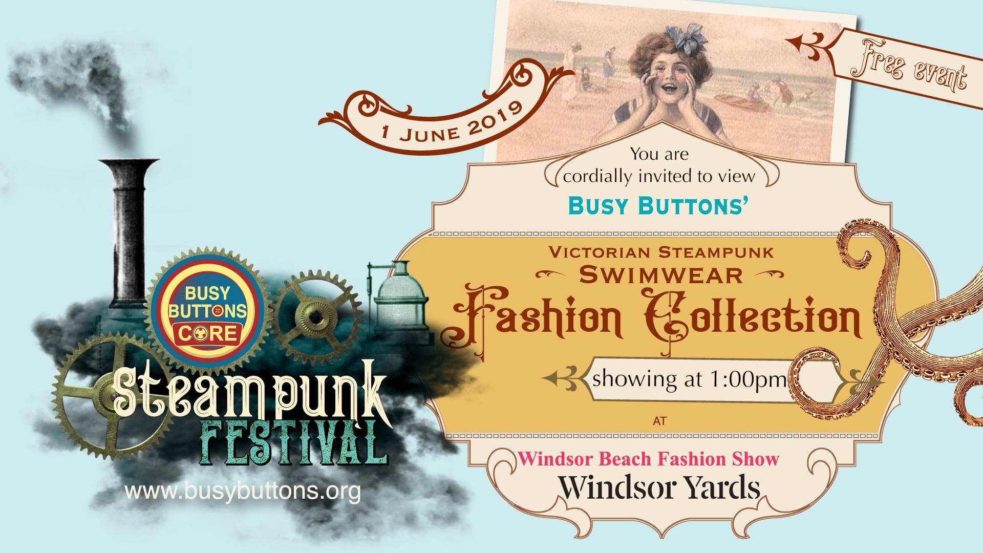 Busy Buttons CORE -  Re-purposed Victorian SteamPunk Swimwear Fashion Show