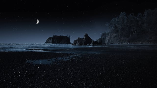 Night Time Ocean Sounds - Ruby Beach at Night