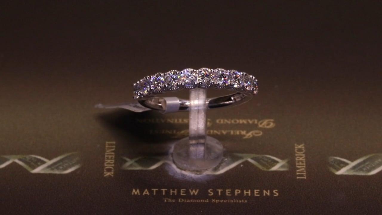 70059 - Ten Stone Round Brilliant Eternity Ring, T0.80ct, Set in Platinum