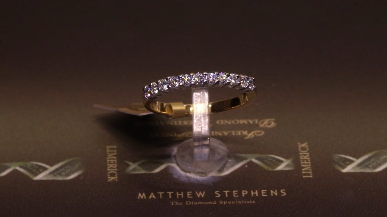 63222 - Eleven Stone Round Brilliant Eternity Ring, T0.33ct, Set in 18ct Yellow Gold