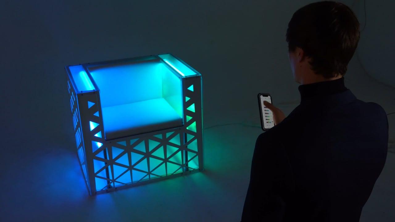 Sonic Solas Lounge Chair Utilizing The Aurora Sound-Reactive Lighting Platform