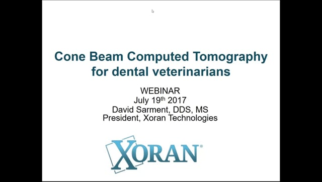 Webinar: Dr. David Sarment - Cone Beam Computed Tomography for Dental Veterinarian Medicine
