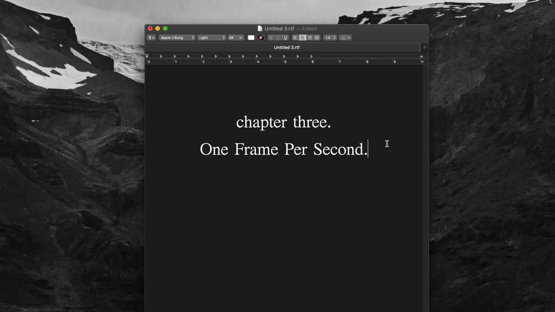 chapter three. One Frame Per Second