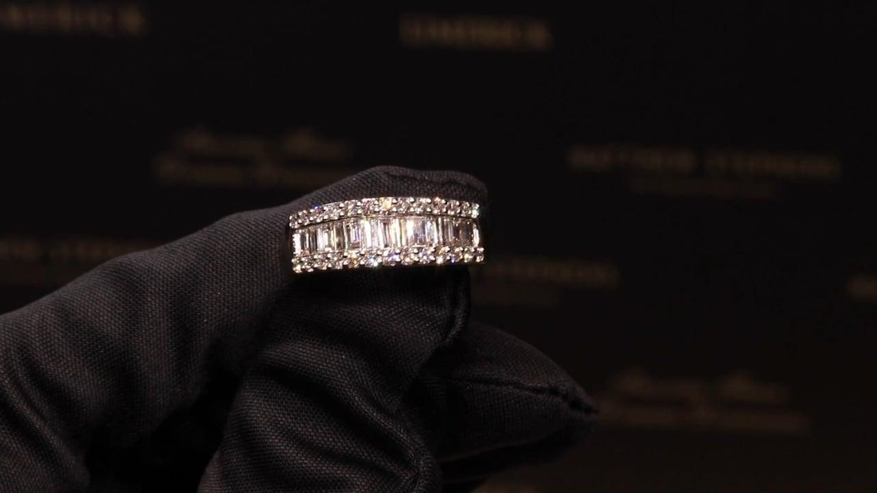 71219 - Baguette & Round Brilliant Three Row Diamond Eternity Ring, RB0.39ct & B0.60ct, Set in Platinum