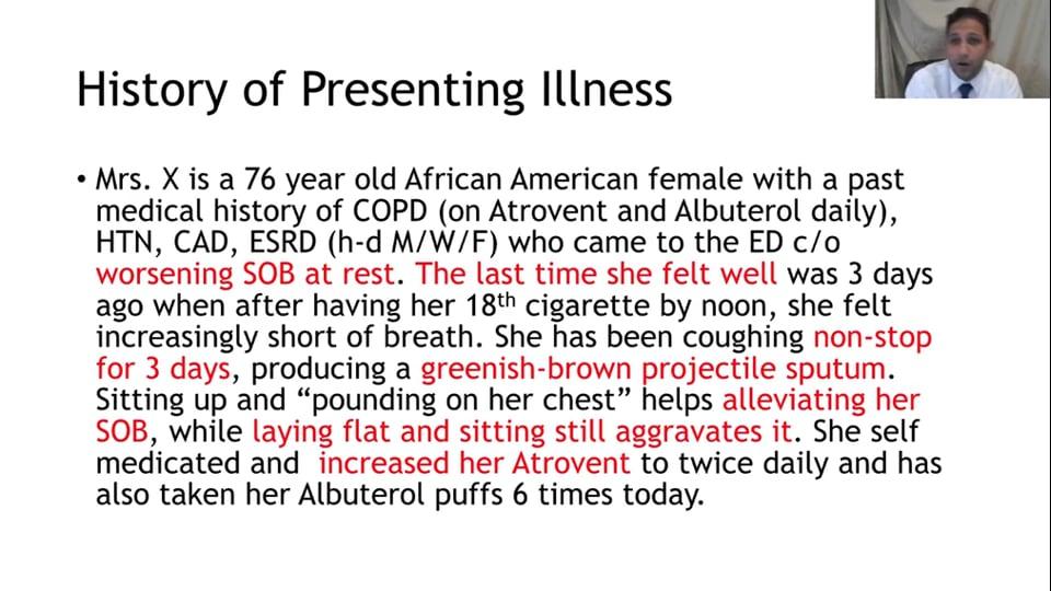History of Presenting Illness