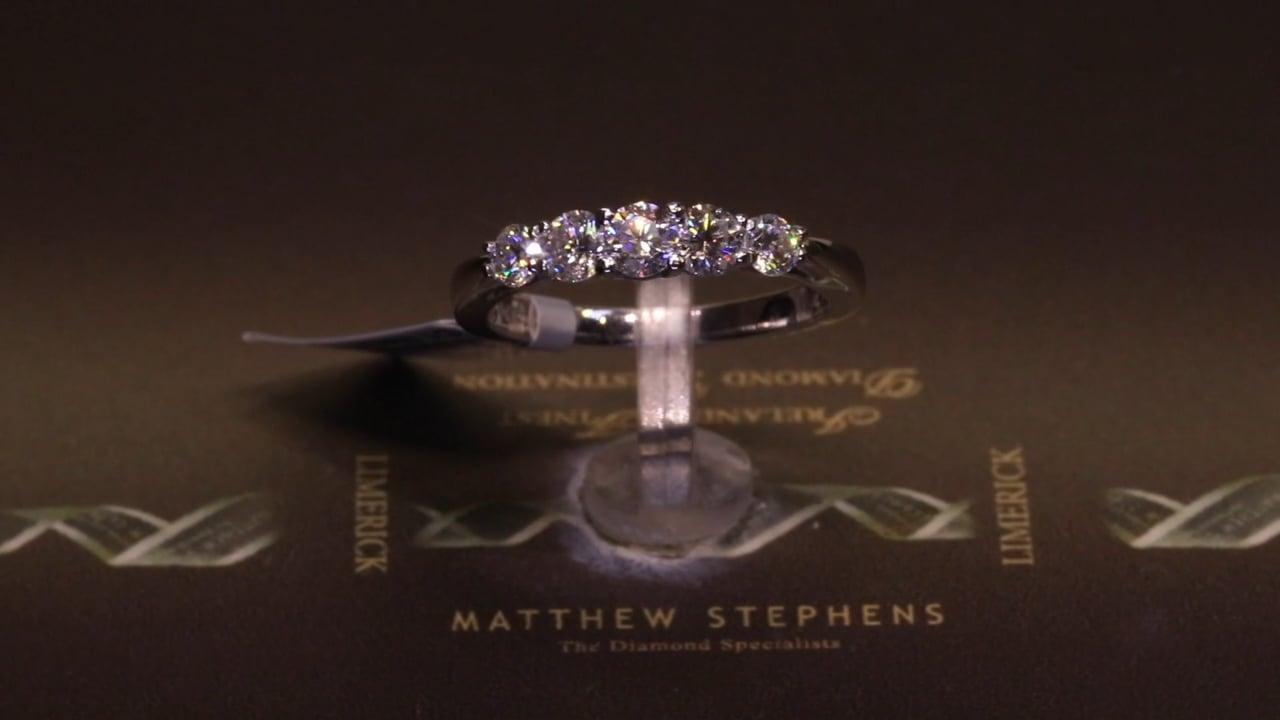 73214 - Five Stone Graduated Eternity Ring, T0.78ct, Set in Platinum