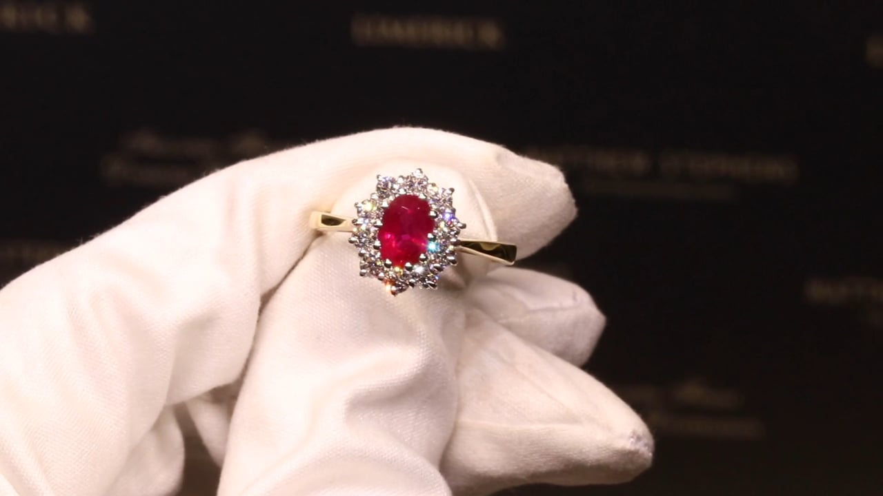 67683 - Ruby & Diamond Cluster Ring, R1.11ct & D0.63ct, Set in 18ct Yellow Gold