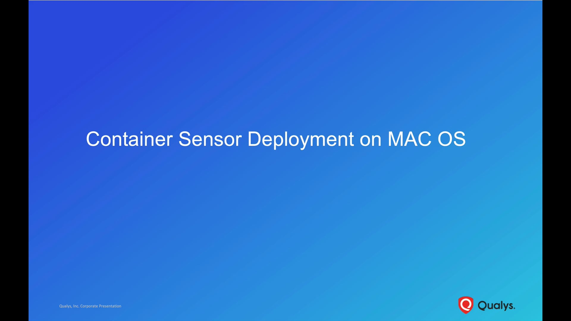 Container Sensor Deployment on MAC OS