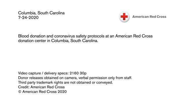 Biomed B-roll - Blood donation and coronavirus safety protocols in Columbia, South Carolina
