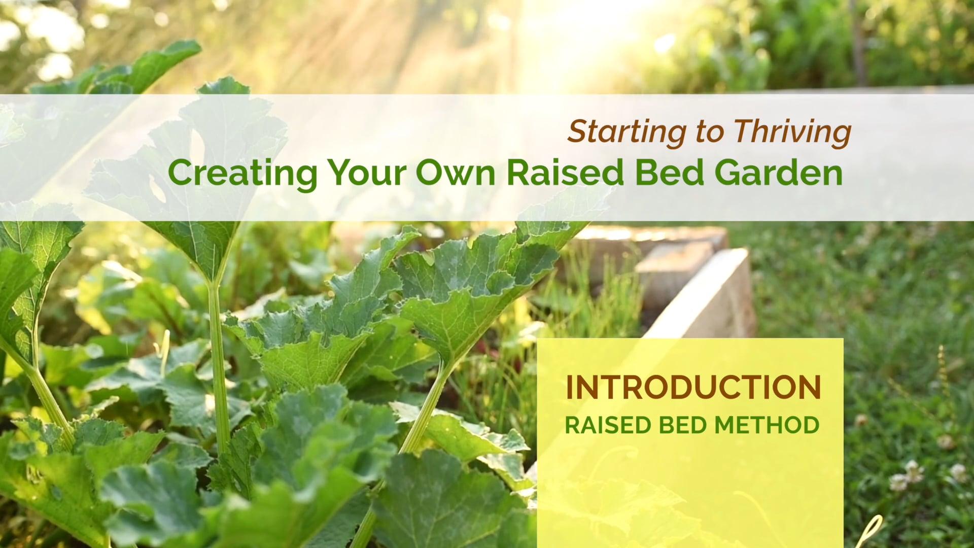 #1 Intro to Raised Bed Method