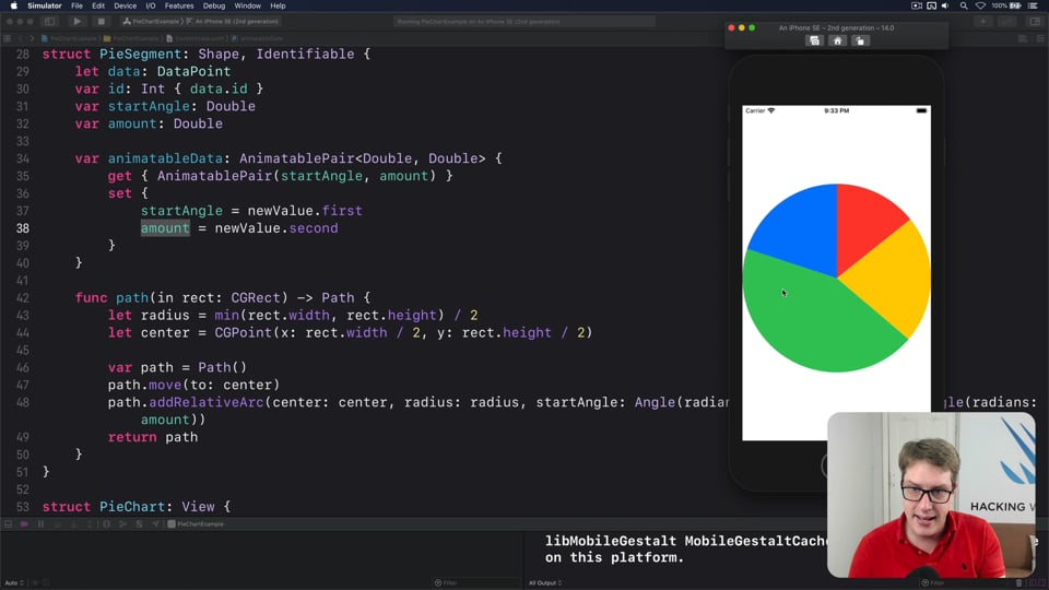Rendering a pie chart