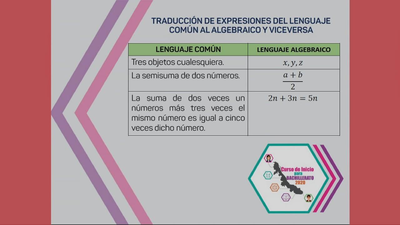 Del lenguaje común al lenguaje algebraico 1