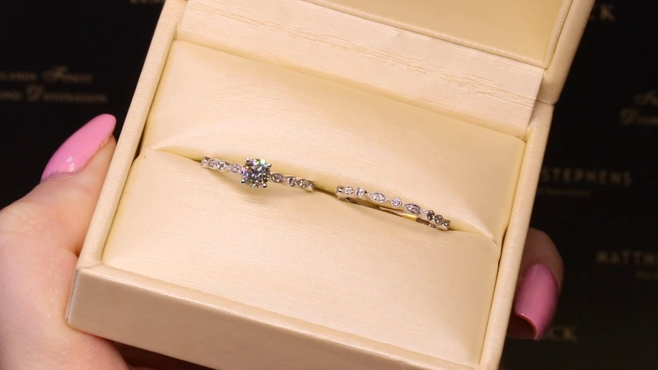 70149 & 70145 - Solitaire Diamond Ring with Ornate Diamond Shoulders & Matching Wedding Band