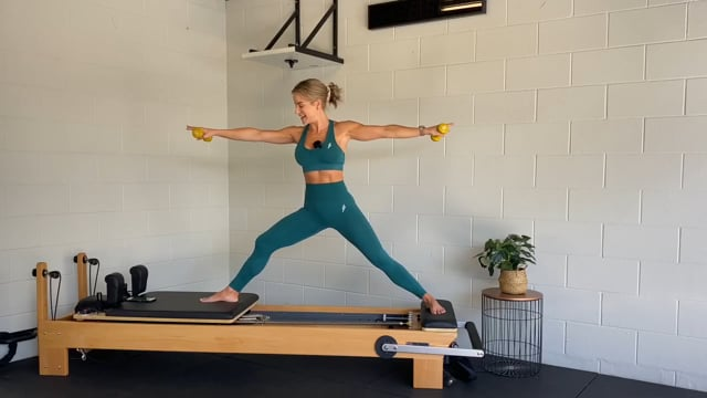 30min full body reformer workout with dumbbells