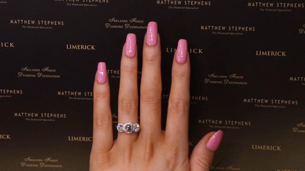 73420 - Round Brilliant Three Stone Halo Diamond Engagement Ring, T2.10ct, Set in Platinum